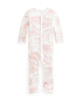 폴로 랄프로렌 Polo Ralph Lauren Baby Girls Toile-print Interlock Coverall One Piece,Red Toile