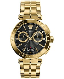 Men's Swiss Chronograph Aion Gold Ion Plated Stainless Steel Bracelet Watch 45mm