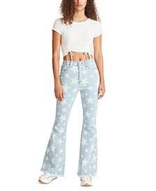 Juniors' Graphic Star-Print Flared-Leg Jeans