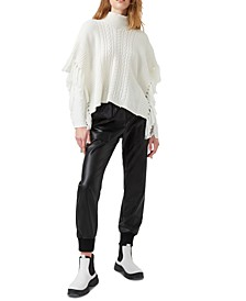 Lacey Fringed Poncho Sweater