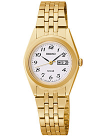 Seiko Women's Solar Gold-Tone Stainless Steel Bracelet Watch 25mm SUT118