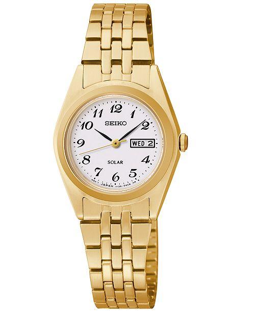 Seiko Women's Solar Gold-Tone Stainless Steel Bracelet Watch 25mm SUT118