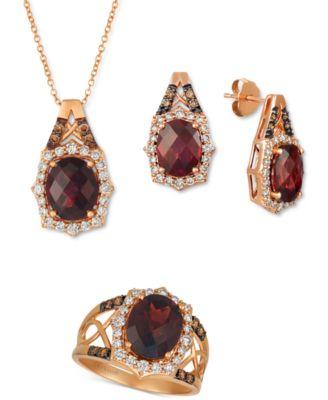 Rhodolite Garnet (4 ct. t.w.) & Diamond (5/8 ct. t.w.) Stud Earrings in 14k Rose Gold