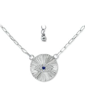 Lab-Created Blue Sapphire & Cubic Zirconia Evil Eye Disc Pendant Necklace