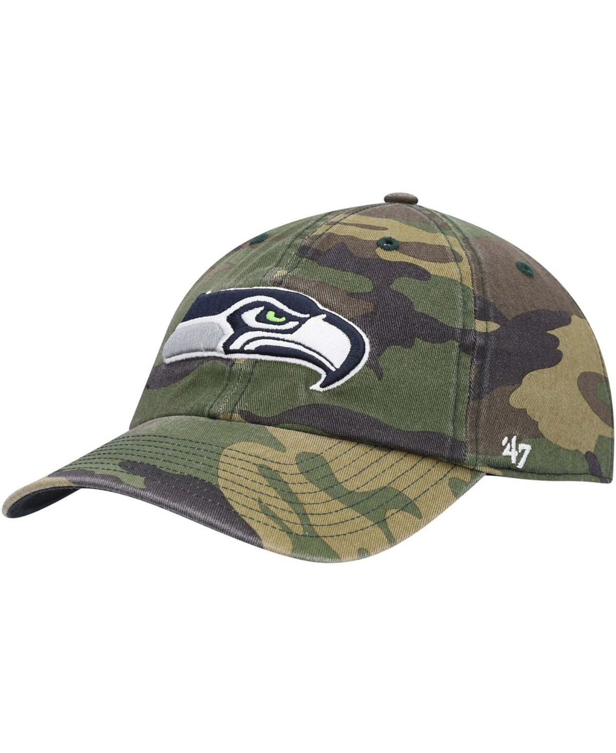 47 Mens Camo Seattle Seahawks Woodland Clean Up Adjustable Hat