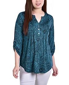 Women's Knit Jacquard 3/4 Sleeve Roll Tab Top