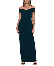 Off-The-Shoulder Peplum Gown
