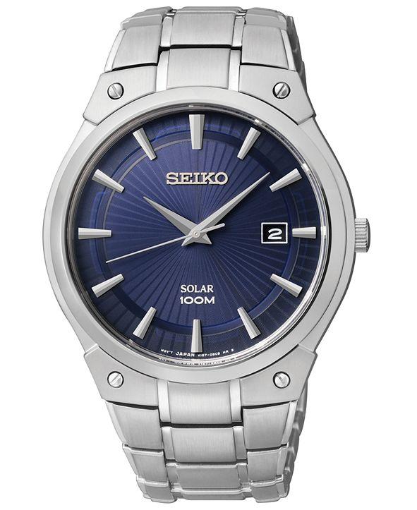 Seiko Men's Solar Stainless Steel Bracelet Watch 41mm SNE323