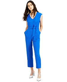 Extended-Shoulder Belted Jumpsuit, Created for Macy's
