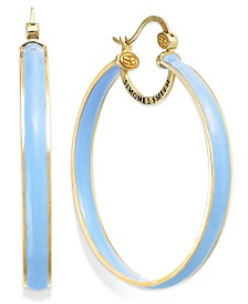 Sis By Simone I Smith Blue Raspberry Enamel Hoop Earrings In 18k Gold Over Sterling Silver