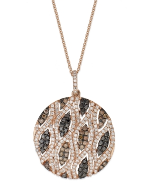 Confetti by Effy White (3/4 ct. t.w.) and Brown (5/8 ct. t.w.) Diamond Pendant Necklace in 14k Rose Gold