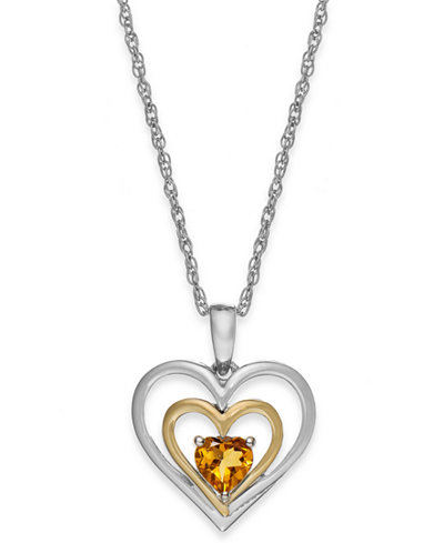 Citrine Heart Pendant Necklace in 14k Gold and Sterling Silver (3/8 ct. t.w.)