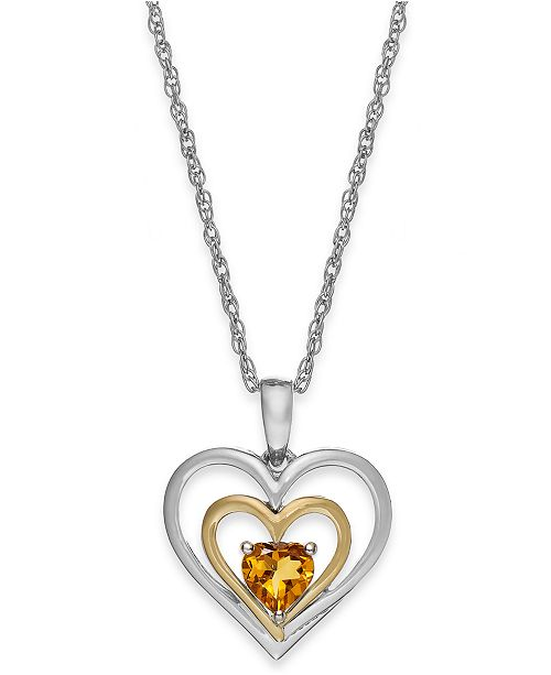 Macy's Citrine Heart Pendant Necklace in 14k Gold and Sterling Silver (3/8 ct. t.w.)