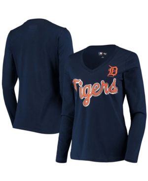 Women's Navy Detroit Tigers Perfect Game Long Sleeve V-Neck T-shirt