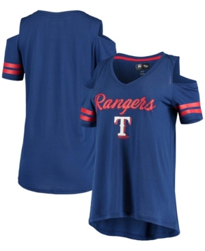 Women's Royal Texas Rangers Extra Inning Cold Shoulder V-Neck T-shirt