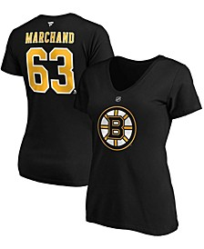Women's Brad Marchand Black Boston Bruins Authentic Stack Name Number V-Neck T-shirt
