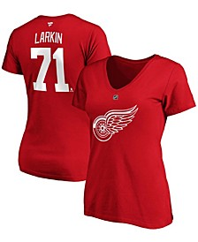 Women's Dylan Larkin Red Detroit Red Wings Team Authentic Stack Name Number V-Neck T-shirt