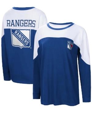Women's Blue New York Rangers Pop Fly Long Sleeve T-shirt