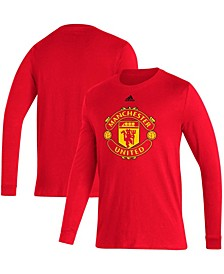 Men's Red Manchester United Primary Logo Amplifier Long Sleeve T-shirt