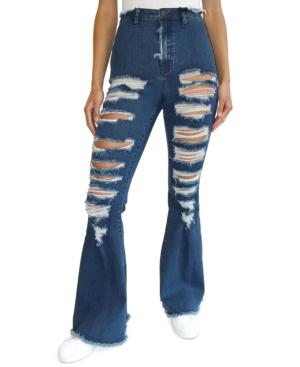 Juniors' Distressed Super-High-Rise Flare Jeans