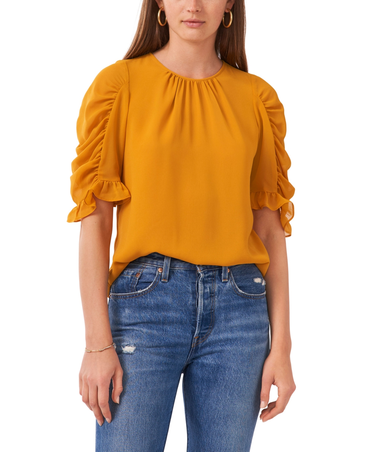 1.state Puff Sleeve Gathered Crew Neck Top