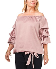 Plus Size Puff-Sleeve Blouse