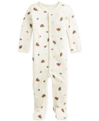 폴로 랄프로렌 Polo Ralph Lauren Baby Boys Polo Bear Soft Cotton Coverall,Greenwhich Bear Print
