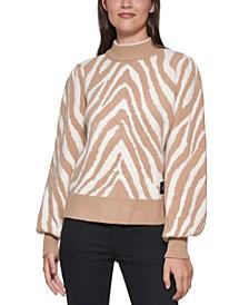 Tiger-Print Puff Sleeve Sweater