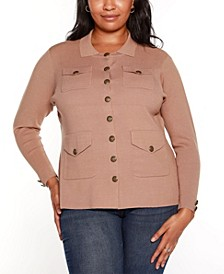 Black Label Plus Size Pocketed Button Front Sweater Jacket