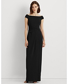 Crepe Off-the-Shoulder Gown