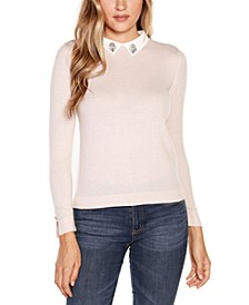 Sweater with Embellished Woven Collar