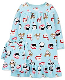 Toddler Girls Holiday Penguin Nightgown & Doll Nightgown