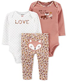 Baby Girls 3-Pc. Fox Outfit Set