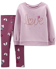 Baby Girls 2-Pc. Love Fleece Top & Leggings Set