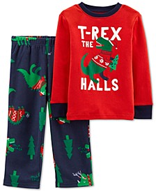 Baby Boys 2-Pc. Christmas Dinosaur Pajamas
