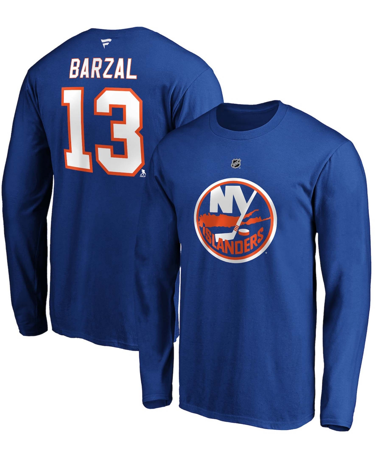 Men's Mathew Barzal Royal New York Islanders Authentic Stack Name and Number Long Sleeve T-shirt