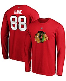 Men's Patrick Kane Red Chicago Blackhawks Authentic Stack Name and Number Long Sleeve T-shirt