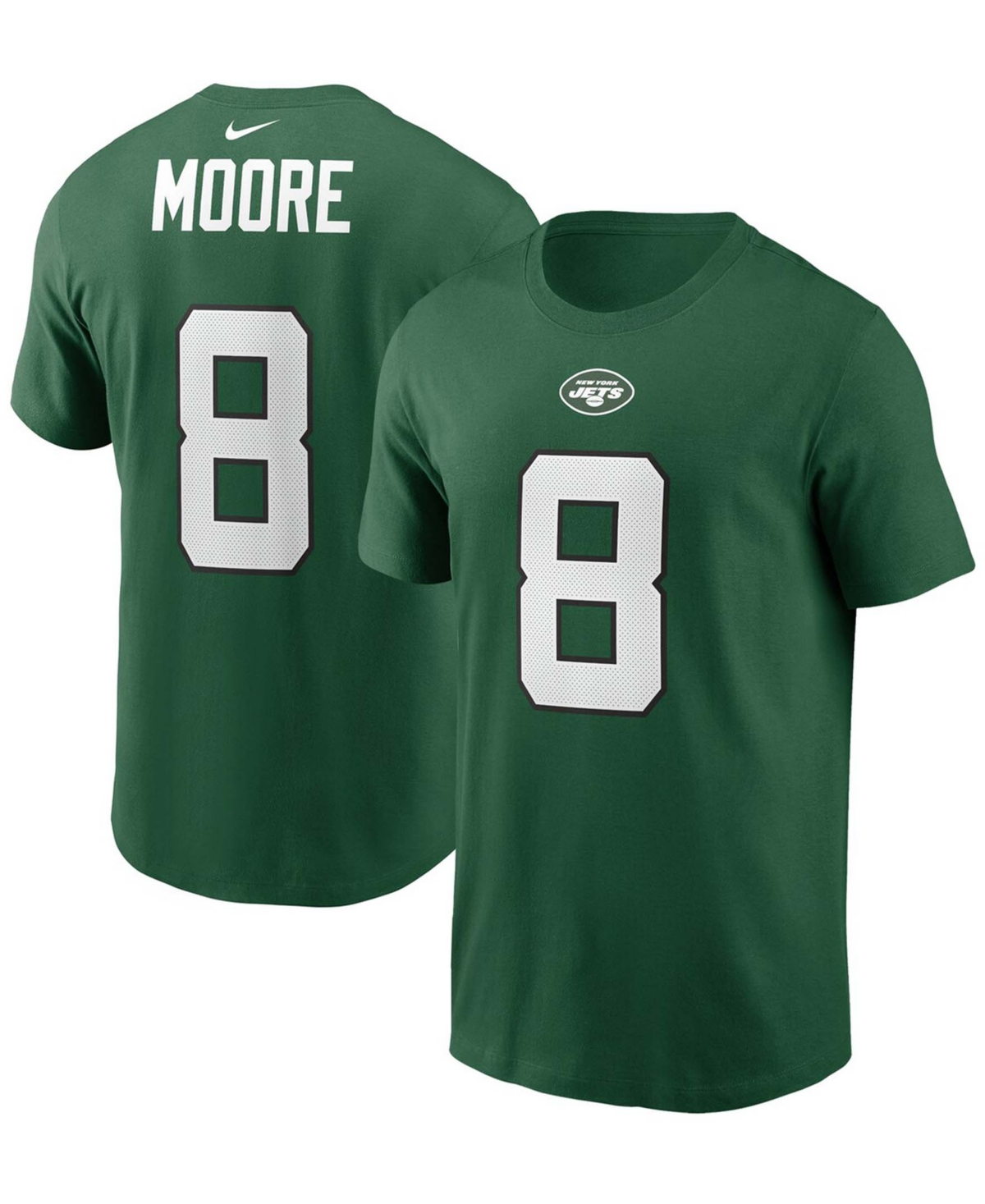 Men's Elijah Moore Green New York Jets 2021 Nfl Draft Pick Player Name Number T-shirt