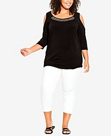 Plus Size Cold Shoulder Bling Tunic Top