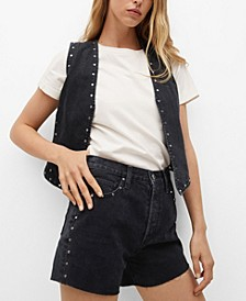 Women's Denim Shorts with Studs