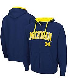 Men's Navy Michigan Wolverines Arch Logo 2.0 Full-Zip Hoodie