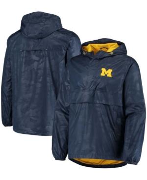 Men's Navy Michigan Wolverines High Impact Hoodie Half-Zip Jacket