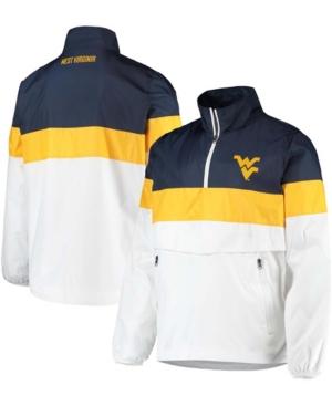 Men's White West Virginia Mountaineers No Huddle Half-Zip Pullover Jacket