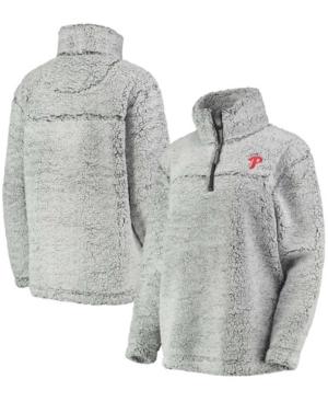 Women's Gray Philadelphia Phillies Sherpa Quarter-Zip Pullover Jacket