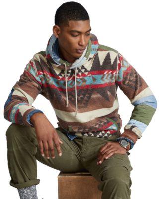 폴로 랄프로렌 맨 뽀글이 후드티 Polo Ralph Lauren Mens Distressed Southwestern Fleece Hoodie,Trade Blanket Multi