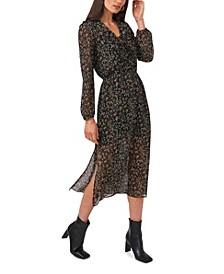Long Sleeve with Cascade Ruffle Maxi Dress