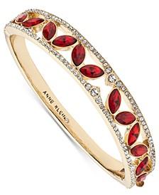 Gold-Tone Red Stone Hinge Bangle Bracelet