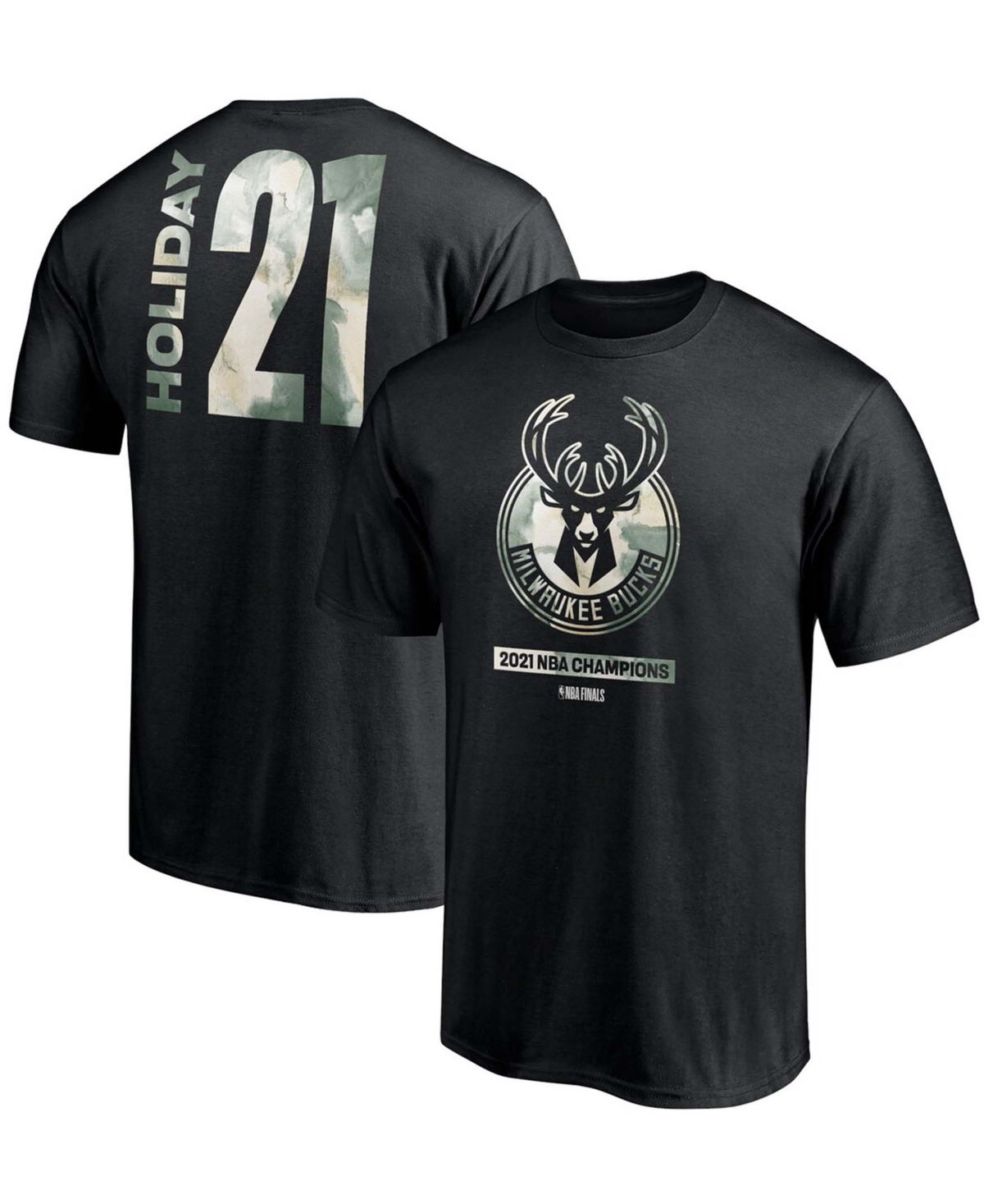 Men's Jrue Holiday Black Milwaukee Bucks 2021 Nba Finals Champions Believe in The Game Name Number T-shirt