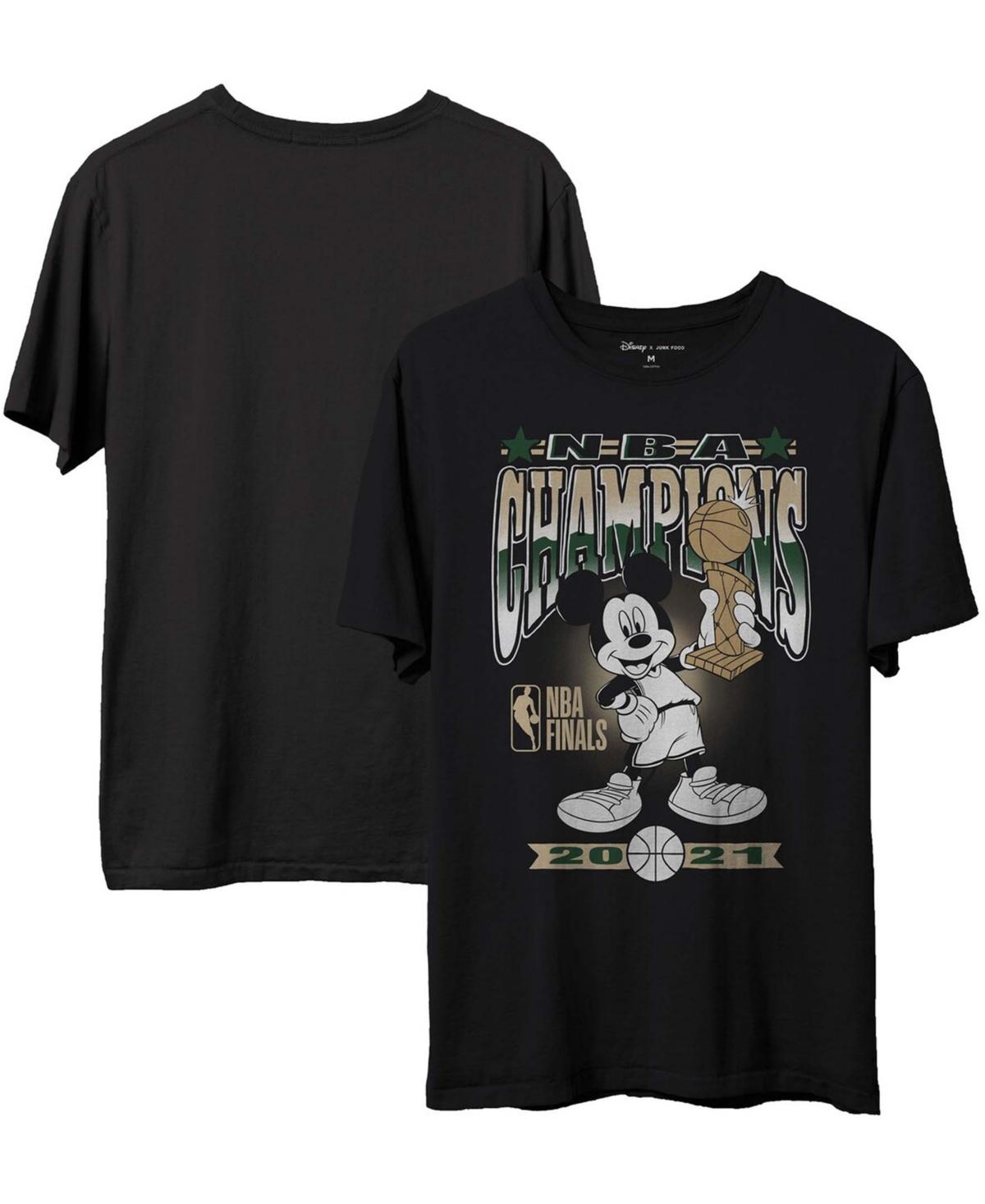 Men's Black Milwaukee Bucks 2021 Nba Finals Champions Mickey T-shirt