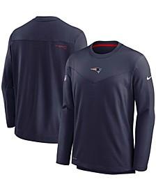 Men's Navy New England Patriots Sideline Team Performance Pullover Sweatshirt
